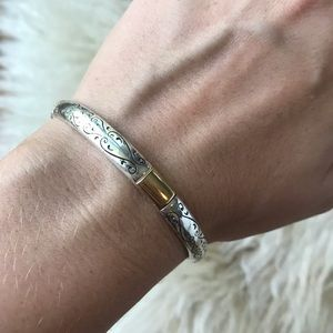 Brighton Silver with Gold Accent Classic Bangle